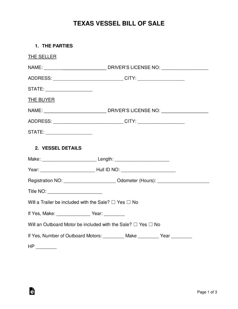 Free Texas Boat Bill Of Sale Form - Word   Pdf   Eforms – Free - Free Printable Texas Bill Of Sale Form
