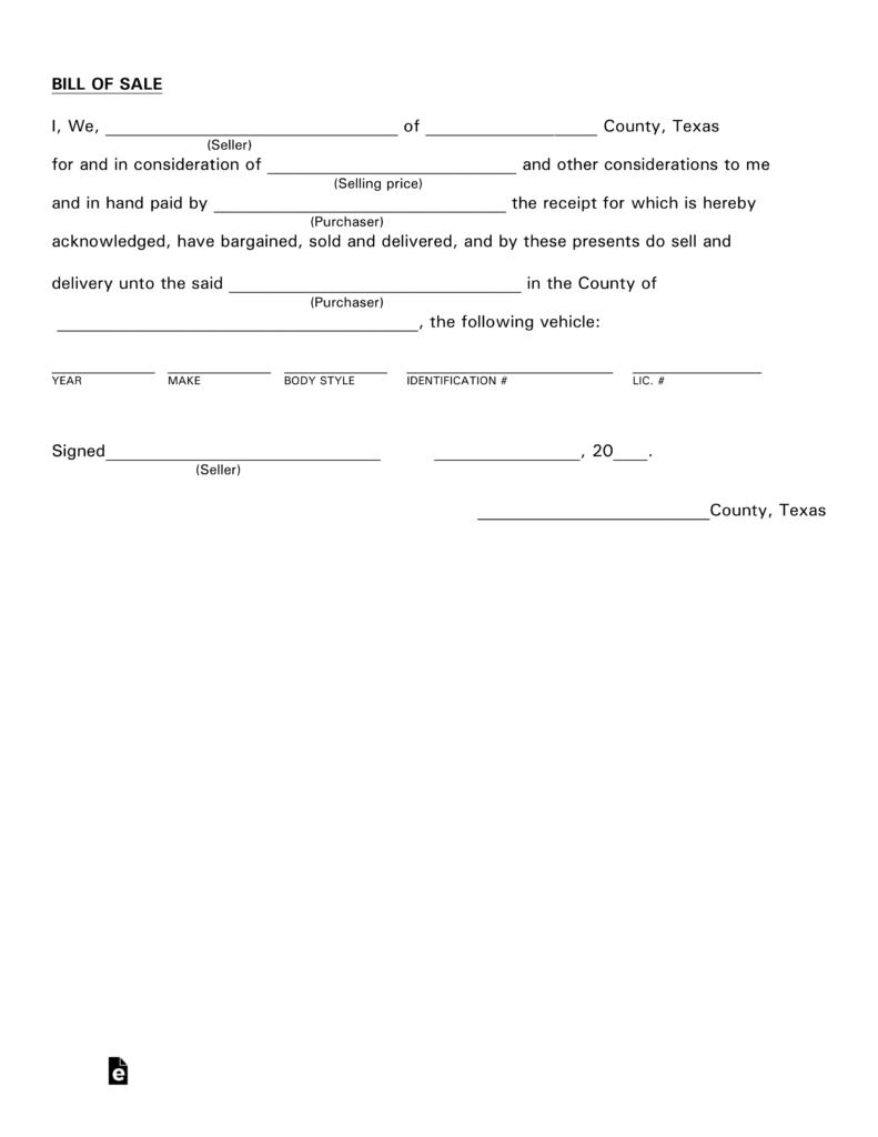 Free Texas Motor Vehicle Bill Of Sale Form - Pdf   Eforms – Free - Free Printable Texas Bill Of Sale Form