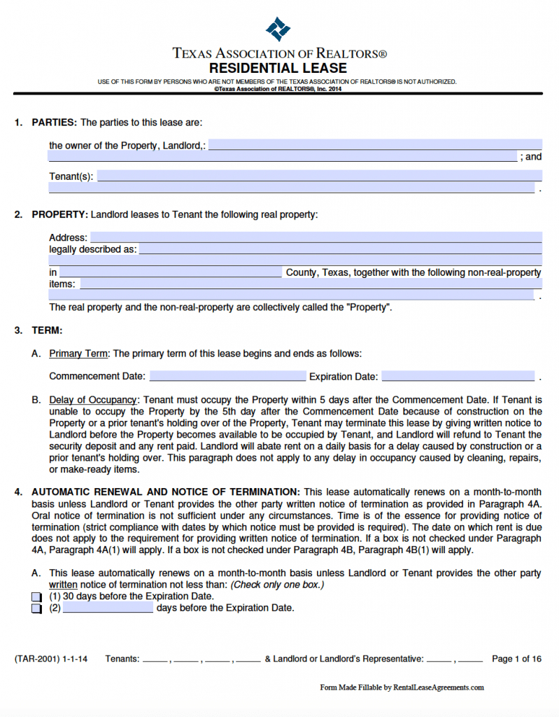 Free Texas Standard Residential Lease Agreement Template – Pdf – Word - Free Printable Lease Agreement Texas