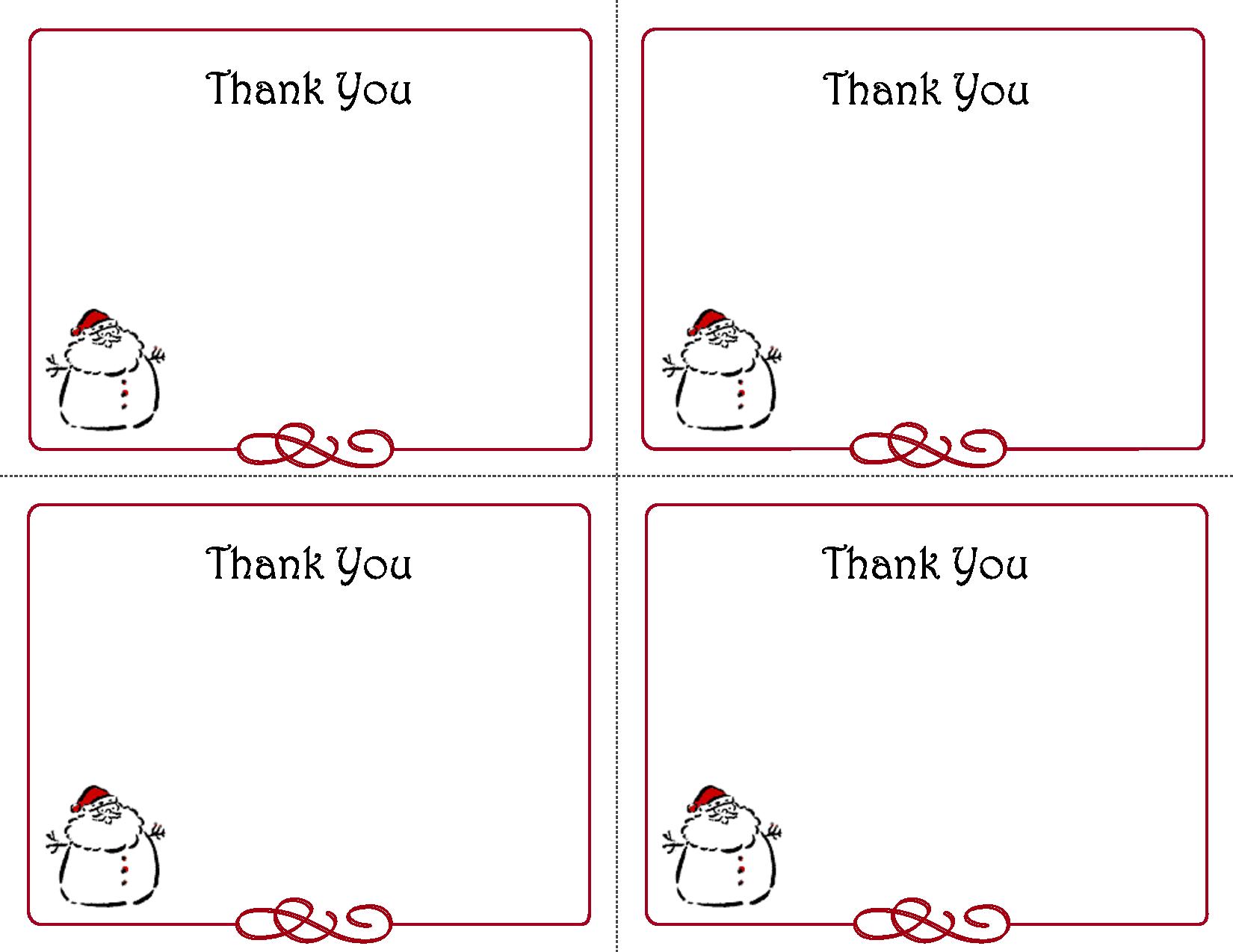 Free Thank You Cards Printable | Free Printable Holiday Gift Tags - Free Printable Thank You Notes
