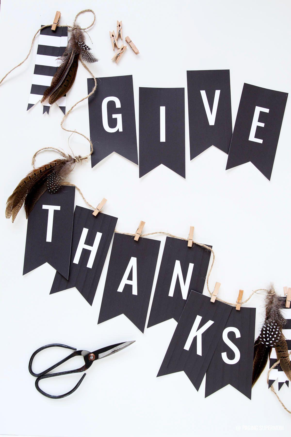 "Free Thanksgiving Banner - ""give Thanks"" In Elegant Black & White - Free Printable Happy Thanksgiving Banner"