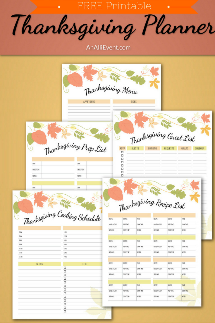 Free Thanksgiving Planner Printable - An Alli Event - Free Printable Thanksgiving Images