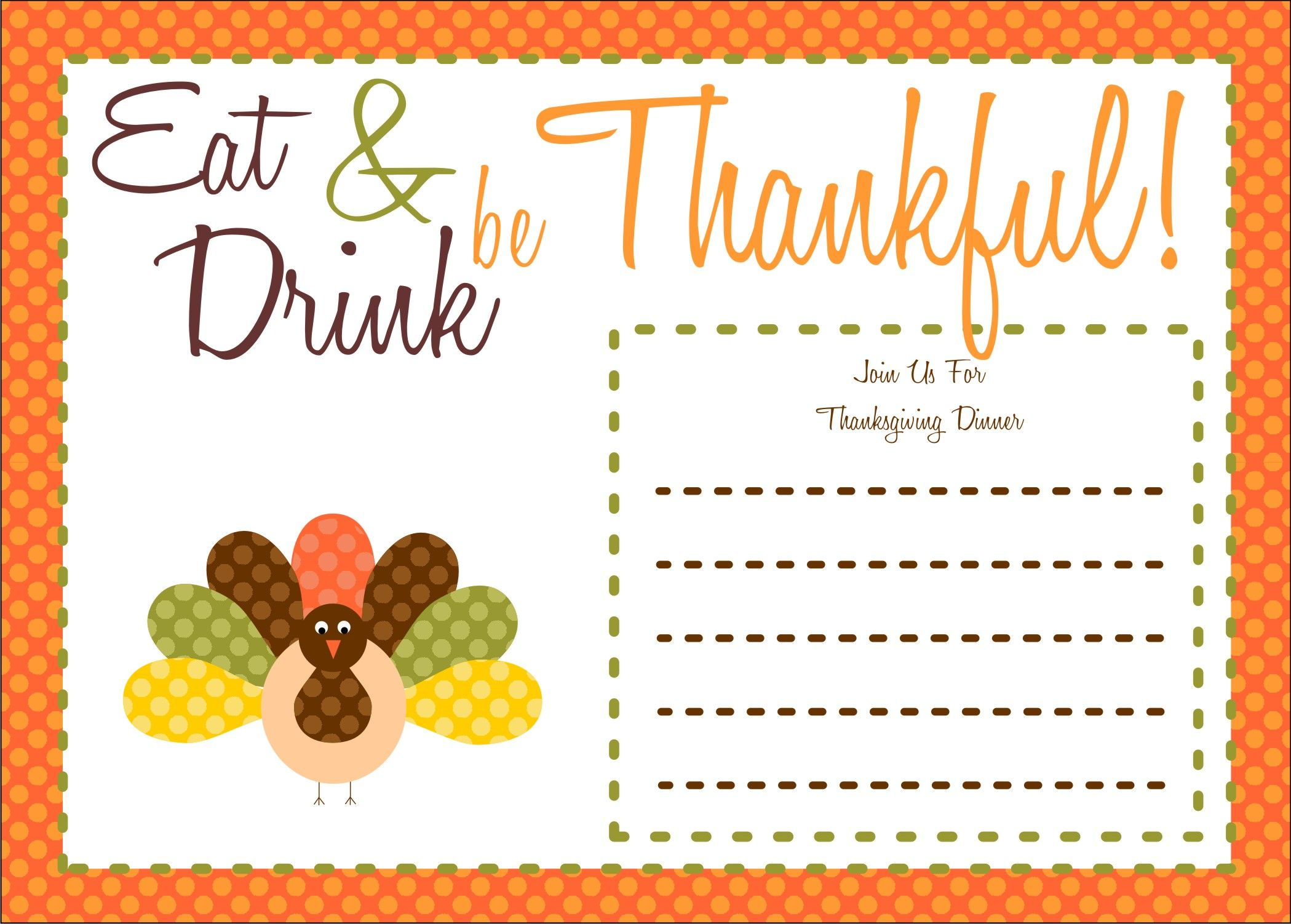 Free Thanksgiving Printables From The Party Bakery   Free Printables - Free Printable Thanksgiving Dinner Invitation Templates