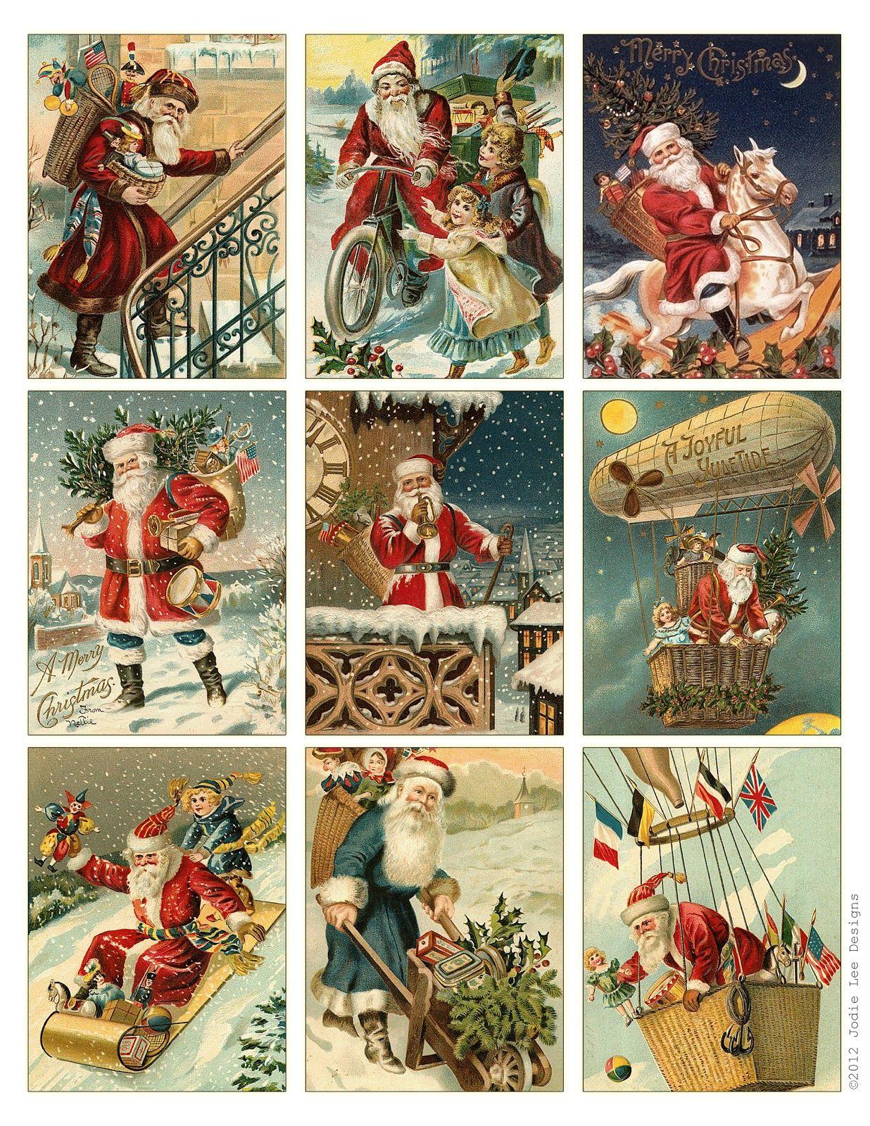 Free To Download! Printable Vintage Santa Tags Or Cards. | Free - Free Printable Xmas Cards Download