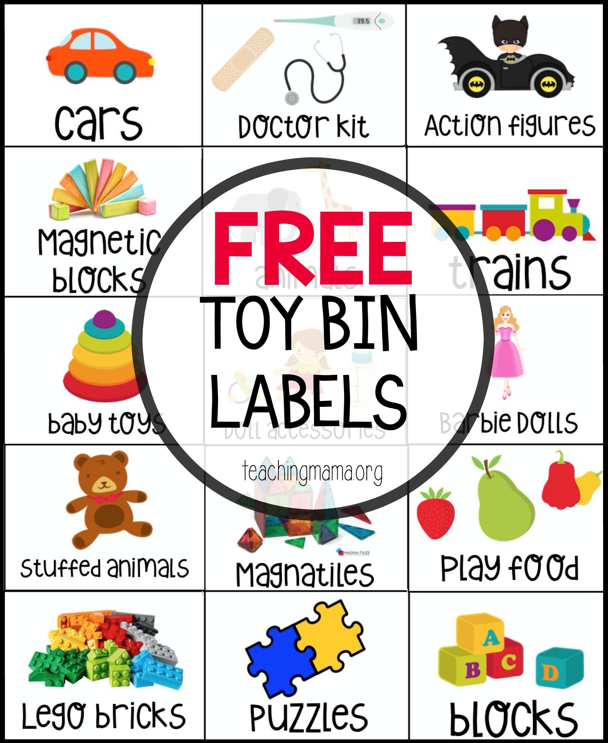 Free Toy Bin Labels - This Is A Great Way To Organize Toys - Free Printable Classroom Tray Labels