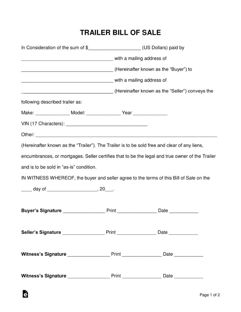 Free Trailer Bill Of Sale Form - Word   Pdf   Eforms – Free Fillable - Free Printable Texas Bill Of Sale Form