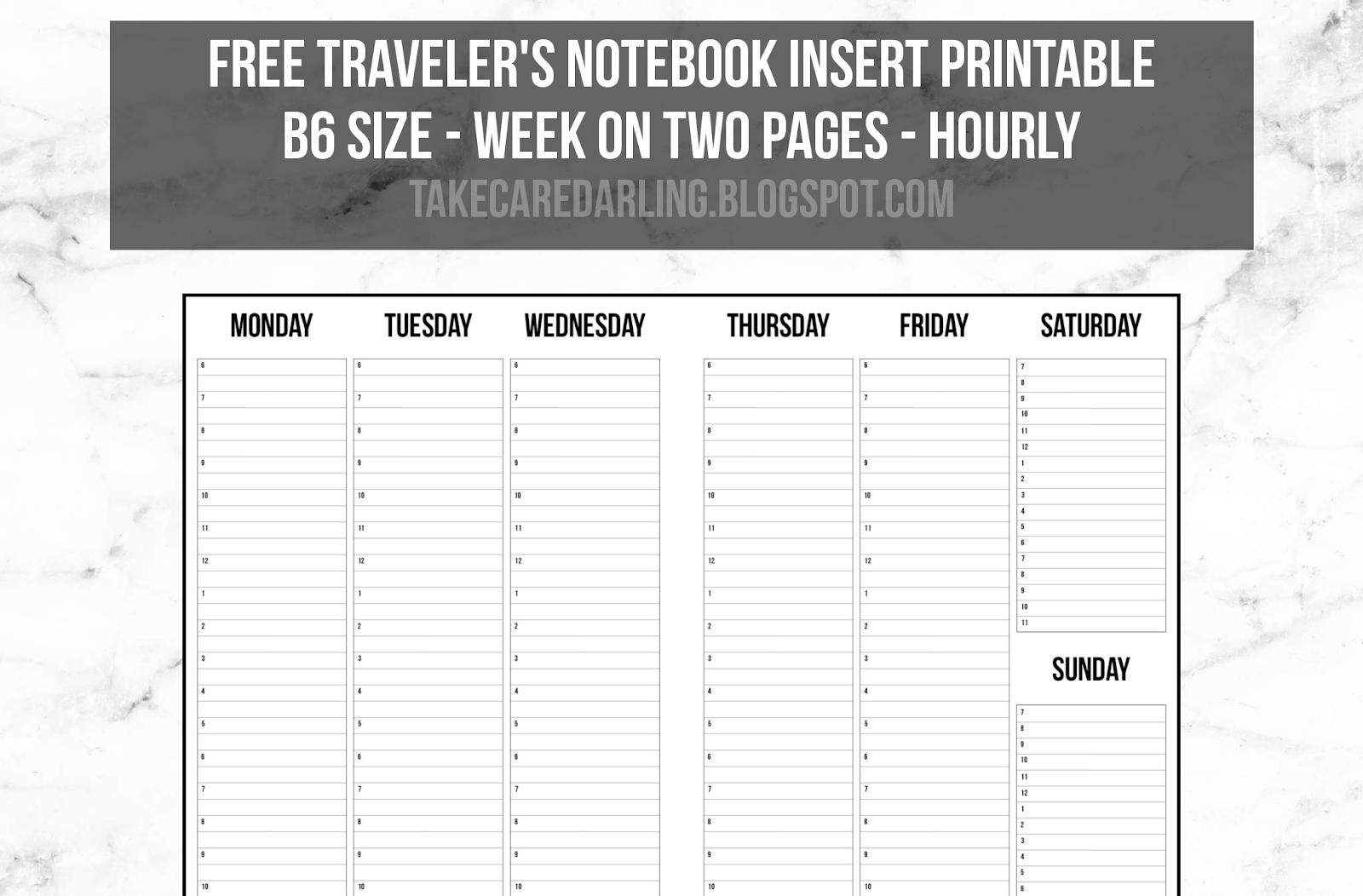 Free Traveler's Notebook Insert Printable: Week On Two Pages - Free Printable Traveler's Notebook Inserts