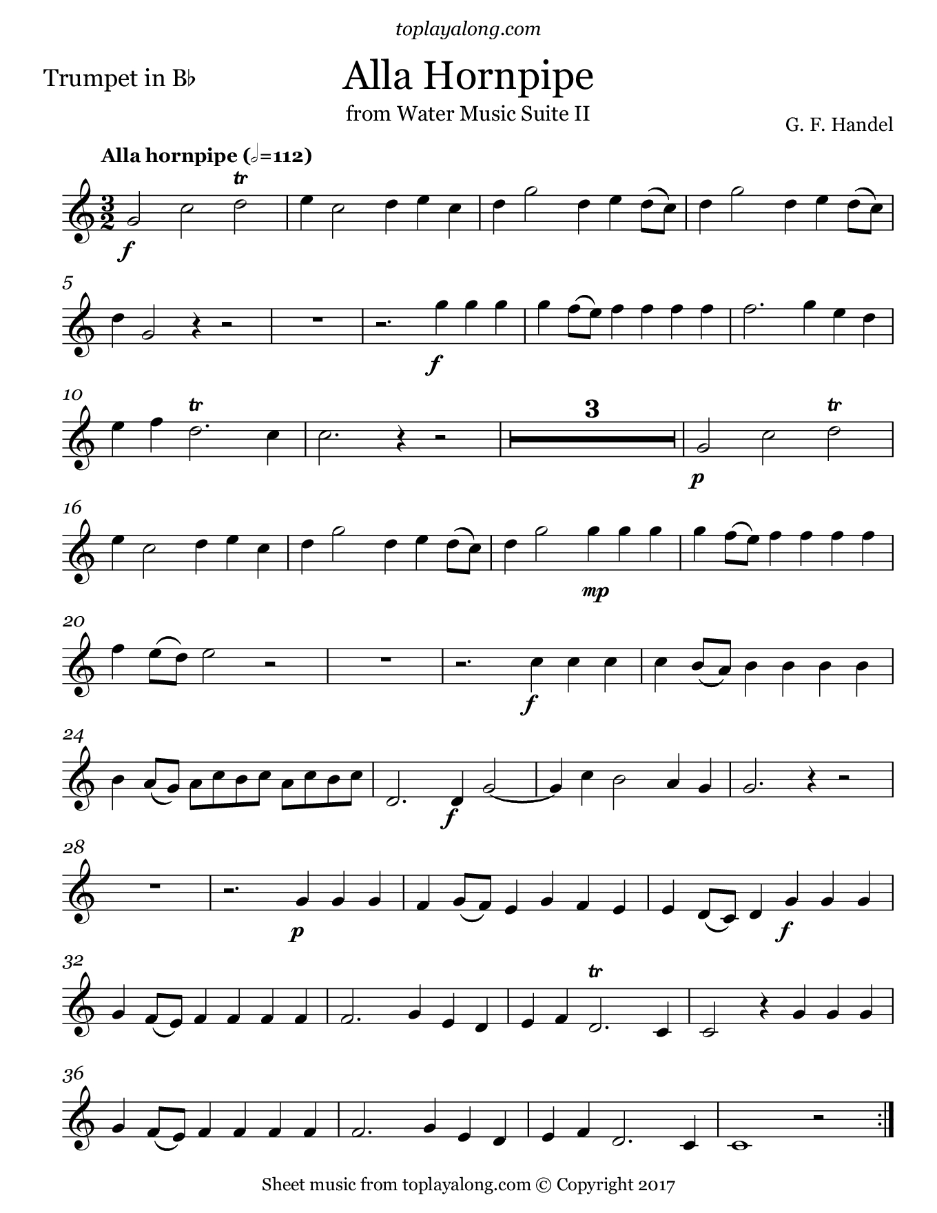 Free Trumpet Sheet Music For Alla Hornpipe From Water Music Suite Ii - Free Printable Sheet Music For Trumpet