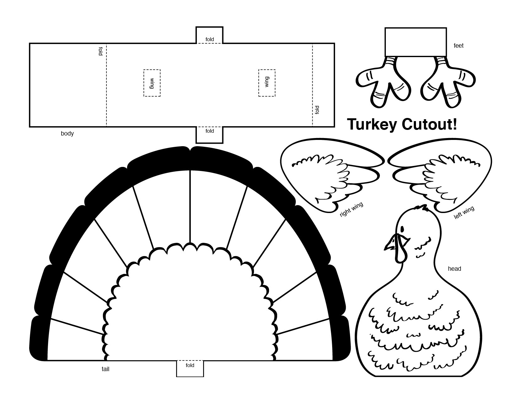 Free Turkey Template Cut Out - Natashamillerweb - Free Turkey Cut Out Printable