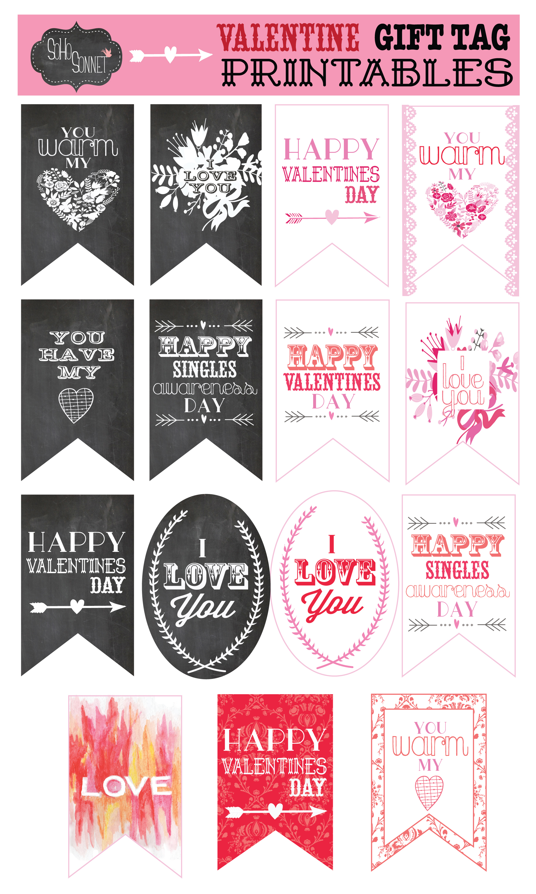 Free Valentine Gift Tag Printables - Sohosonnet Creative Living - Free Printable Valentine Tags