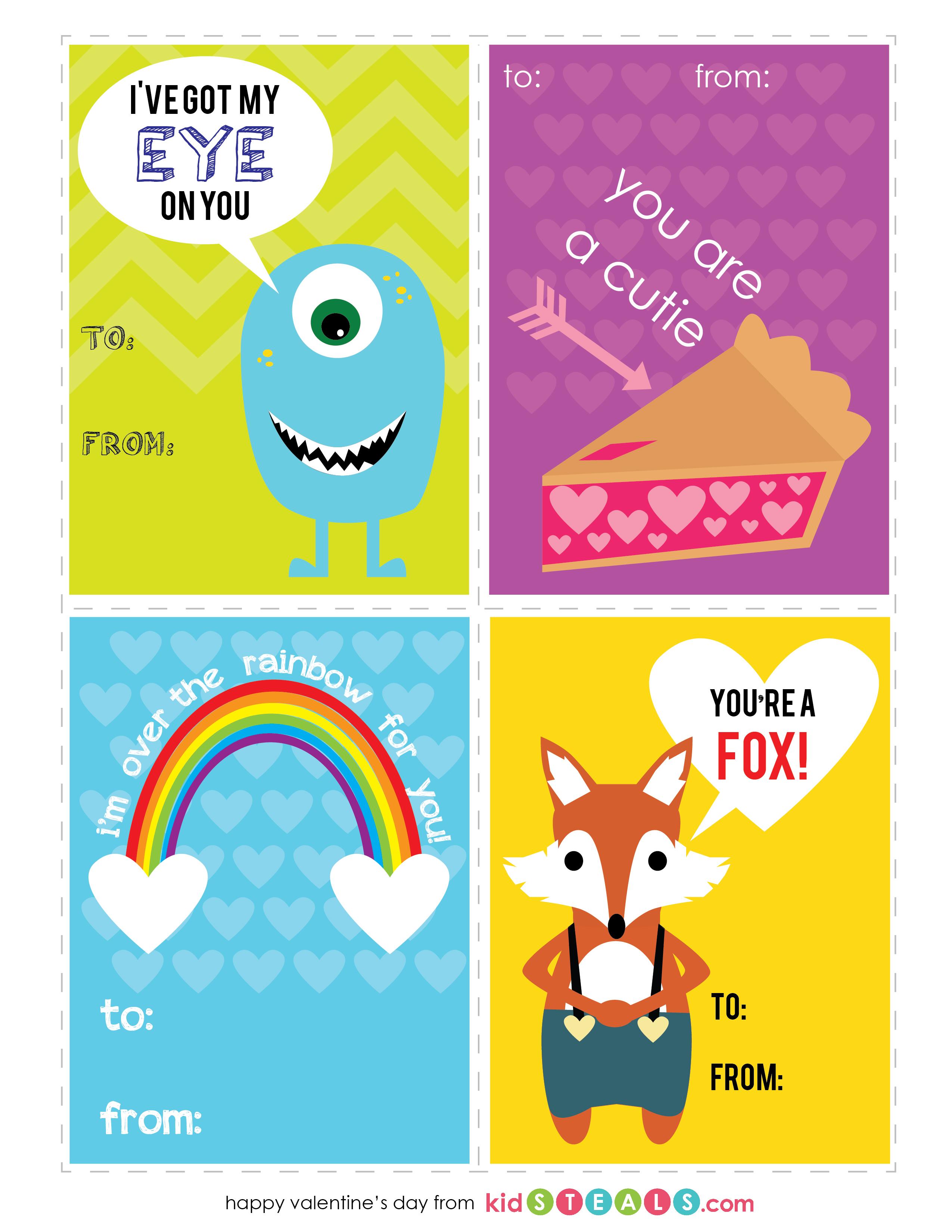 Free Valentines Printables For Kids | Kidsteals - Free Printable Valentine Cards For Preschoolers