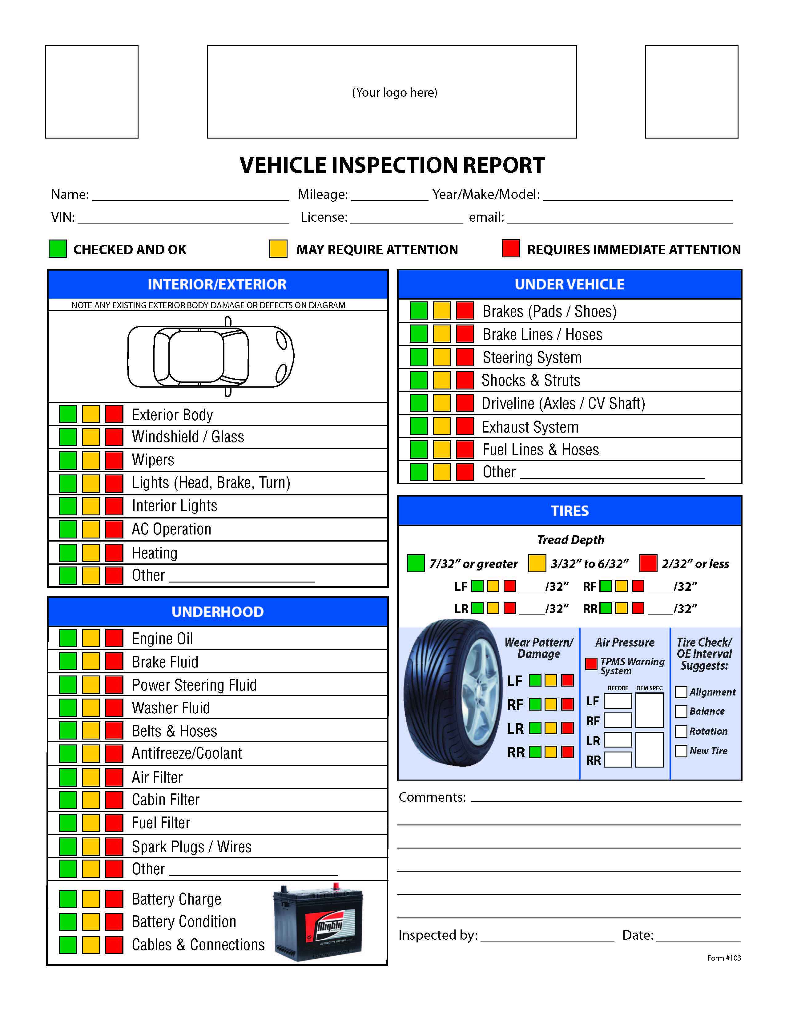 Free Vehicle Inspection Checklist Form   Good To Know   Vehicle - Free Printable Vehicle Inspection Form