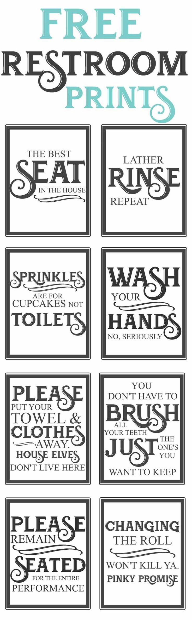 Free Vintage Bathroom Printables | Farmhouse | Diy Home Decor, Home - Free Printable Funny Signs