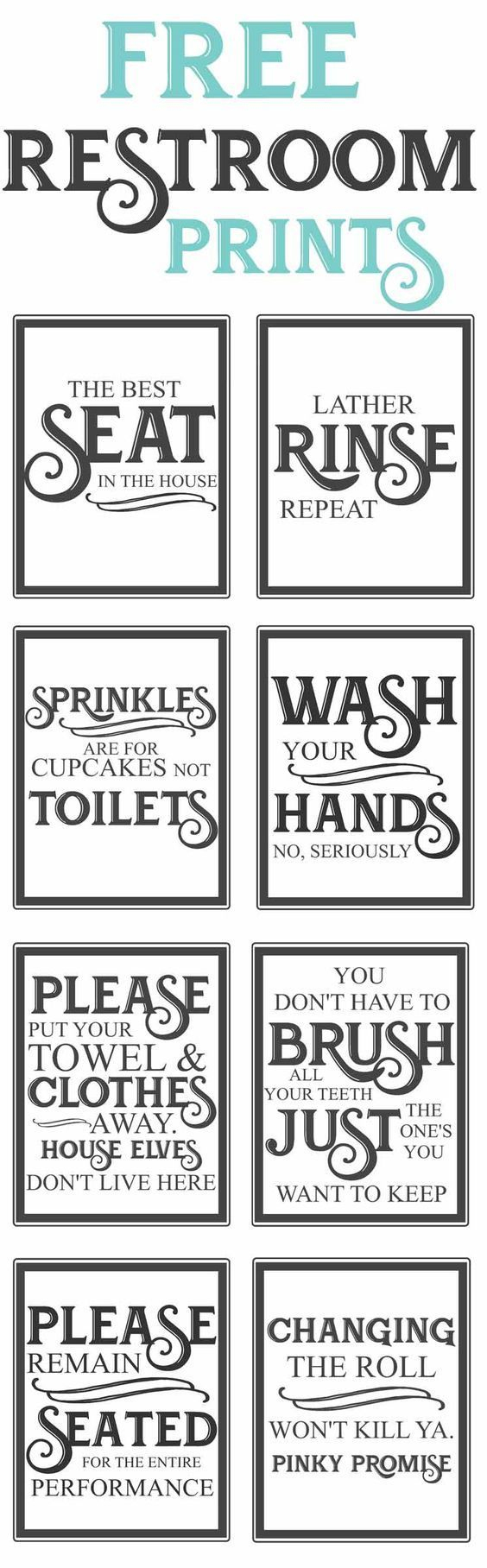 Free Vintage Bathroom Printables | Favorite Diy And Best Crafts - Free Printable Flush The Toilet Signs
