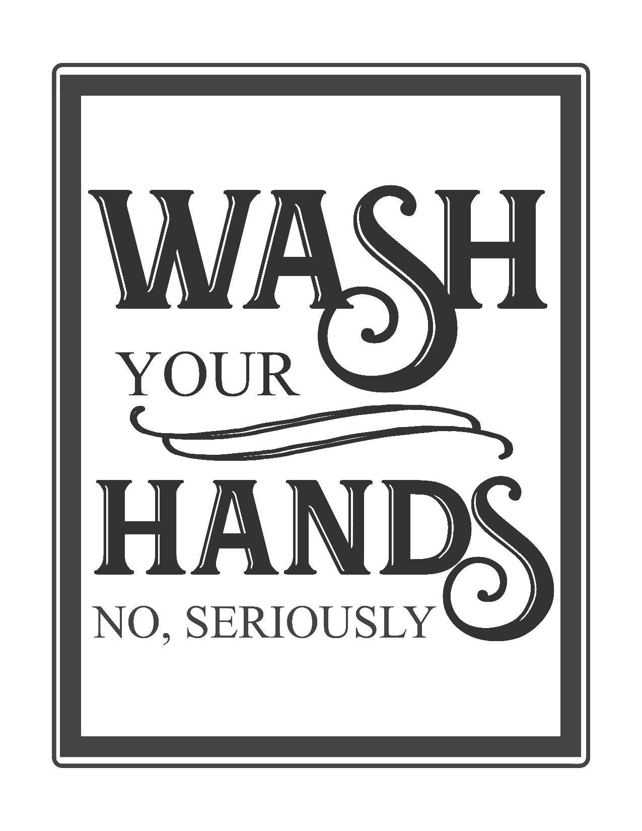 Free Vintage Bathroom Printables | Printables ** | Bathroom Quotes - Free Wash Your Hands Signs Printable