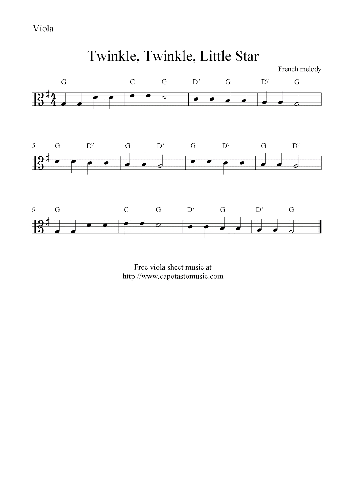 Free Viola Sheet Music, Twinkle, Twinkle, Little Star - Viola Sheet Music Free Printable