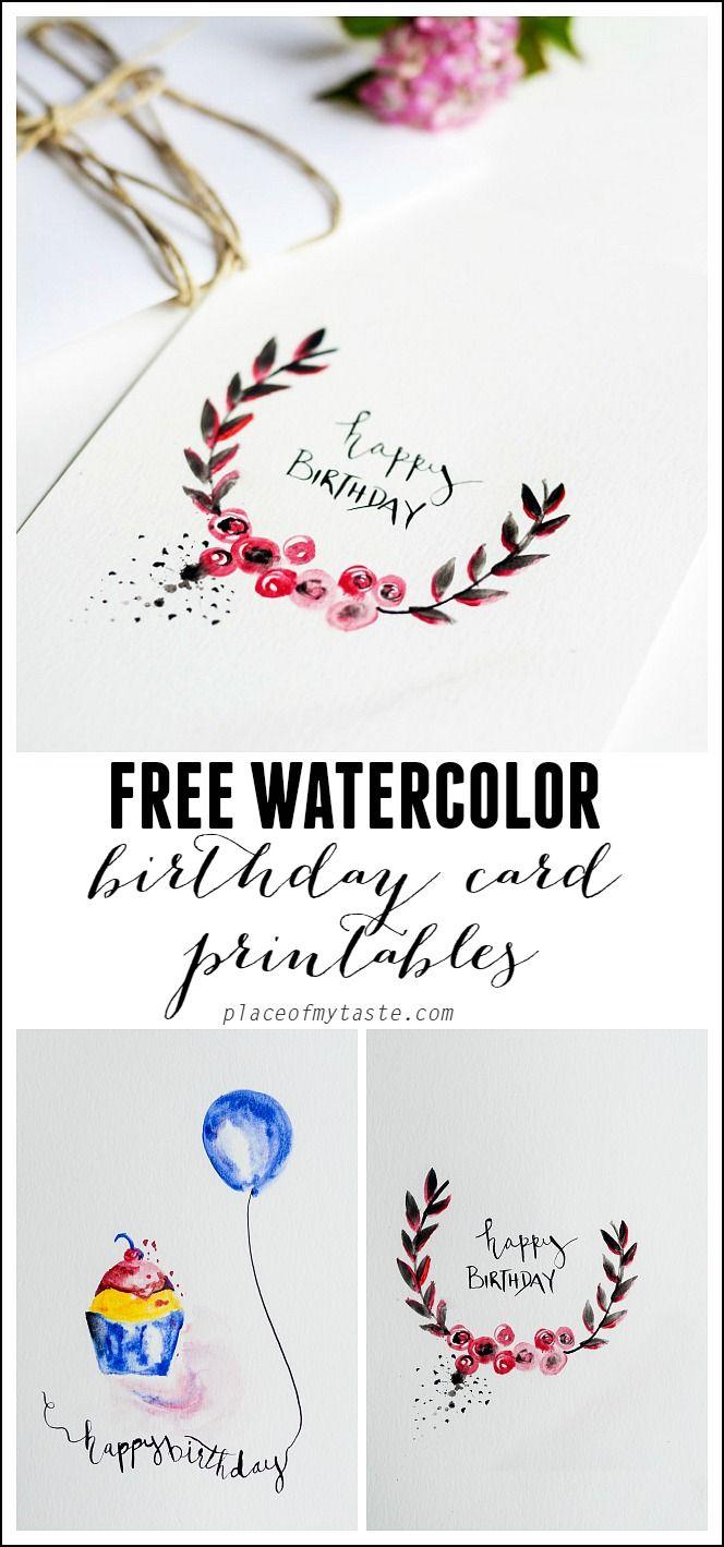 Free Watercolor Birthday Card Printables | Printables | Watercolor - Free Printable Birthday Cards To Color