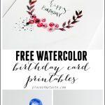 Free Watercolor Birthday Card Printables | Printables | Watercolor   Free Printable Birthday Scrolls