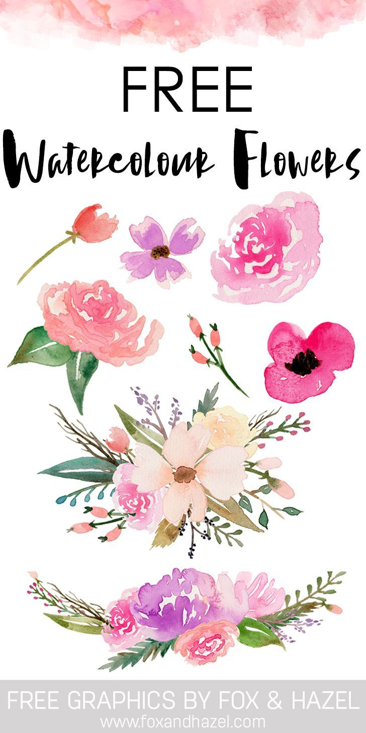 Free Watercolor Flower Graphics From | *all Things Art + Hand - Free Printable Clipart Of Flowers