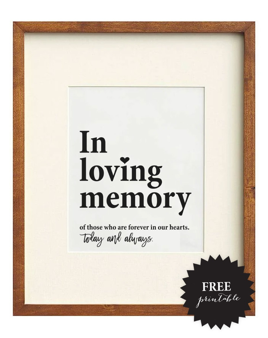 Free Wedding Memorial Signs + 5 Remembrance Ideas - Free Printable Reserved Table Signs