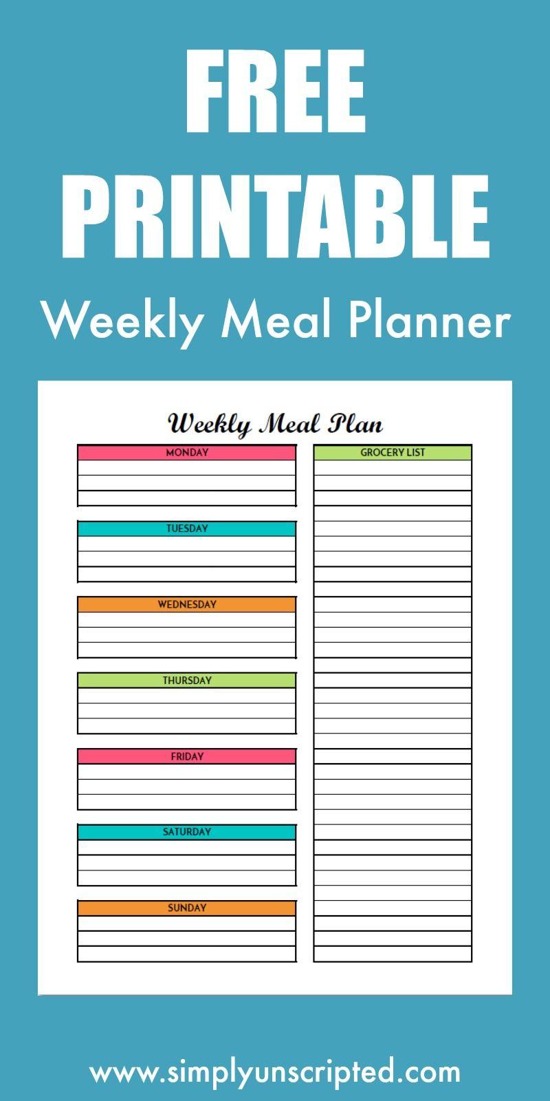 Free Weekly Meal Planning Printable With Grocery List | Free - Create A Menu Free Printable