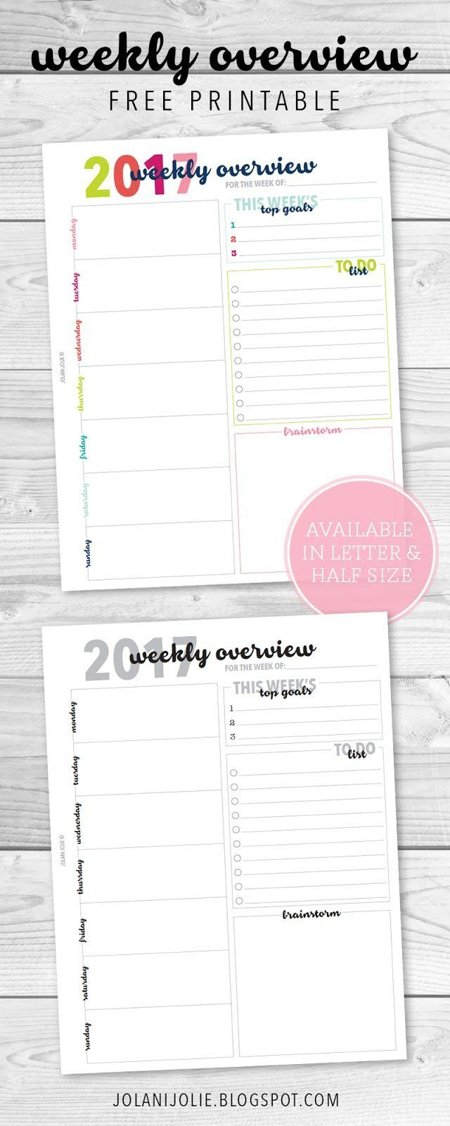 Free Weekly Overview Printable | Planners & Printables | Printable - Free Printable Weekly Planner 2017
