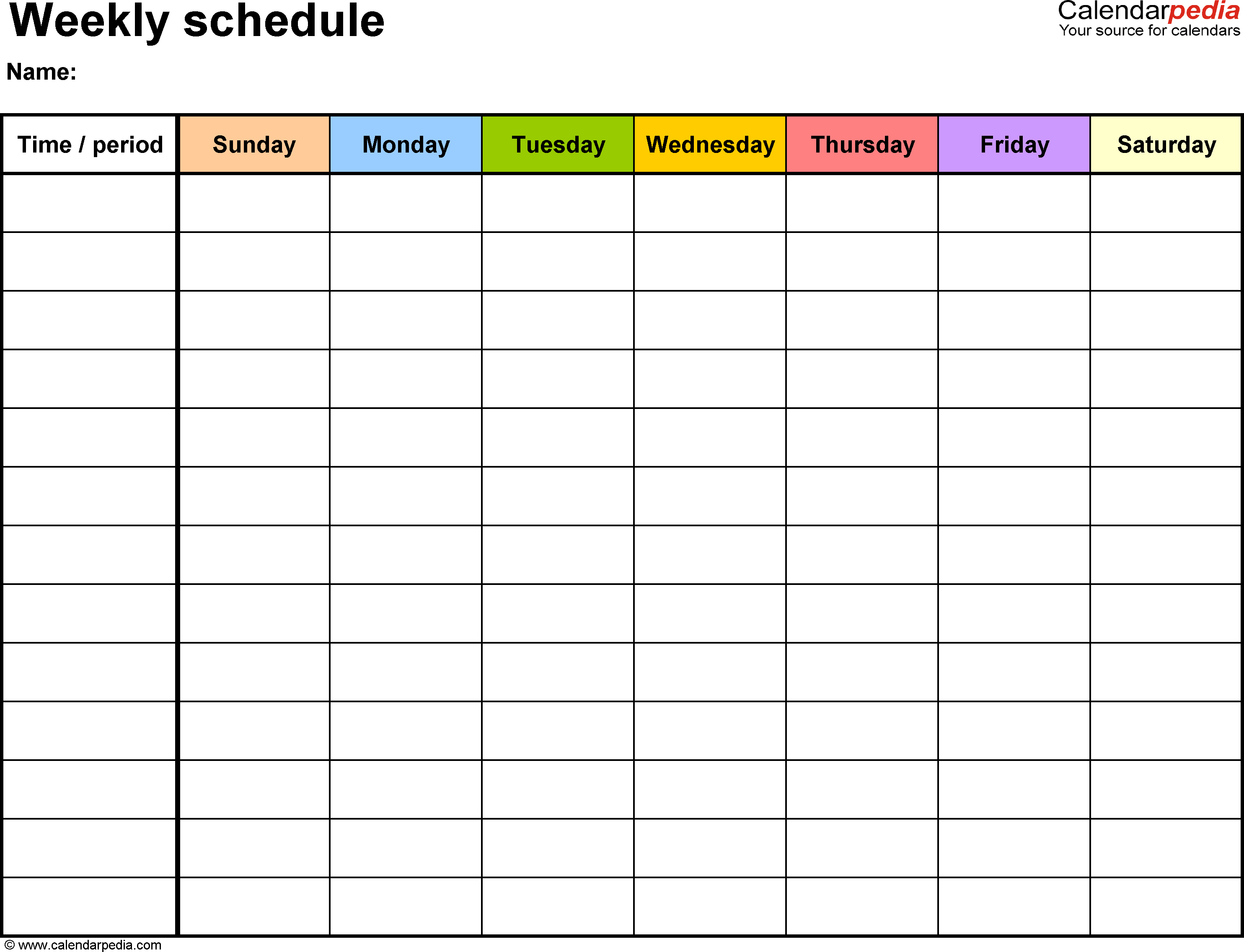 Free Weekly Schedule Templates For Pdf - 18 Templates - Free Printable Blank Weekly Schedule