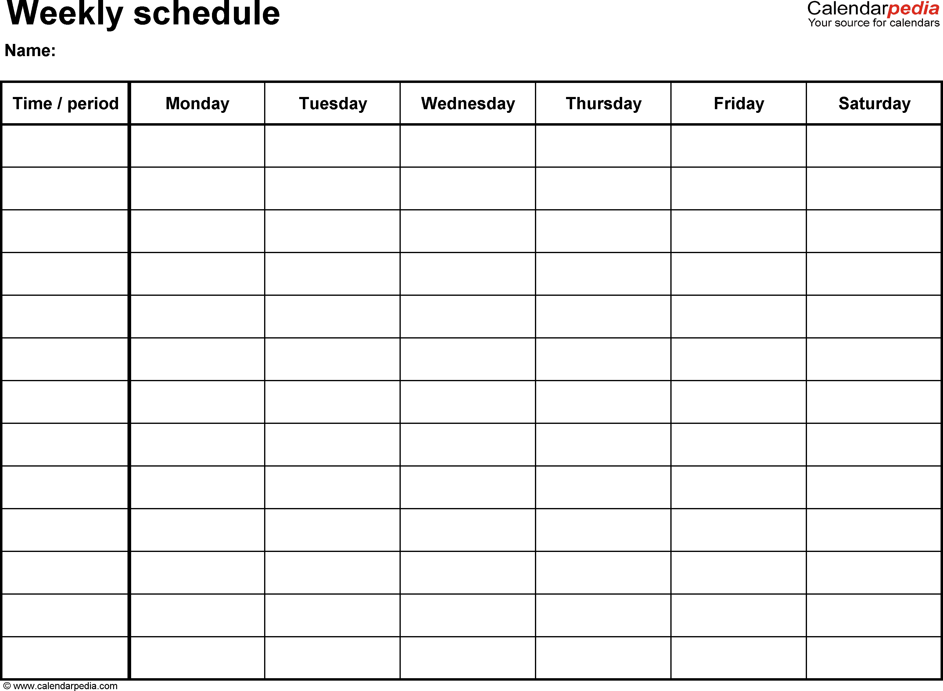 Free Weekly Schedule Templates For Word - 18 Templates - Free Printable Weekly Schedule