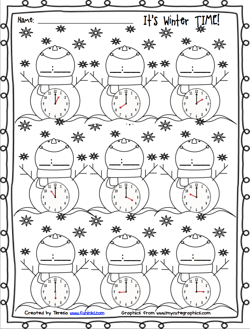 Free Winter Printables For Telling Time. | Firstgradefaculty - Free Printable Telling Time Worksheets For 1St Grade