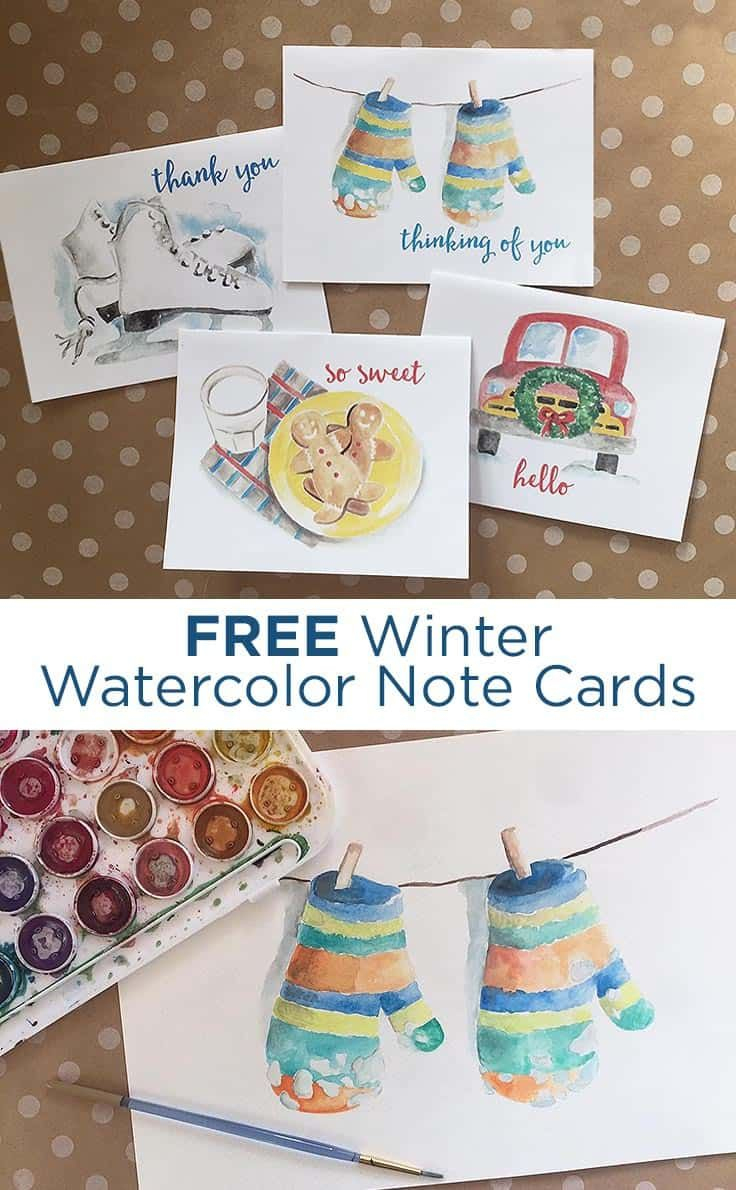 Free Winter Watercolor Note Cards: Printable Greeting Cards - Free Printable Funny Thinking Of You Cards