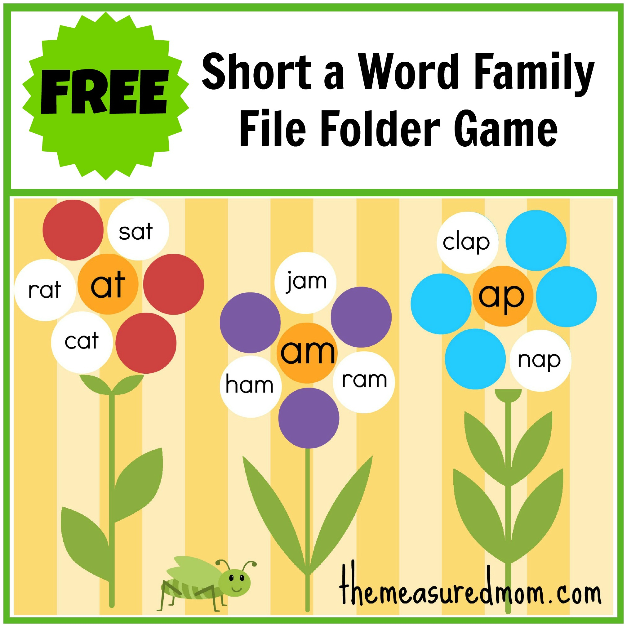 Free Word Family File Folder Game: Short A - The Measured Mom - Free Printable Preschool Folder Games