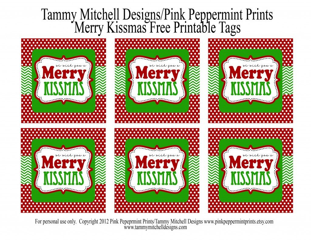 Freebie: Free Printable Christmas Tag: We Wish You A Merry Kissmas - We Wash You A Merry Christmas Free Printable