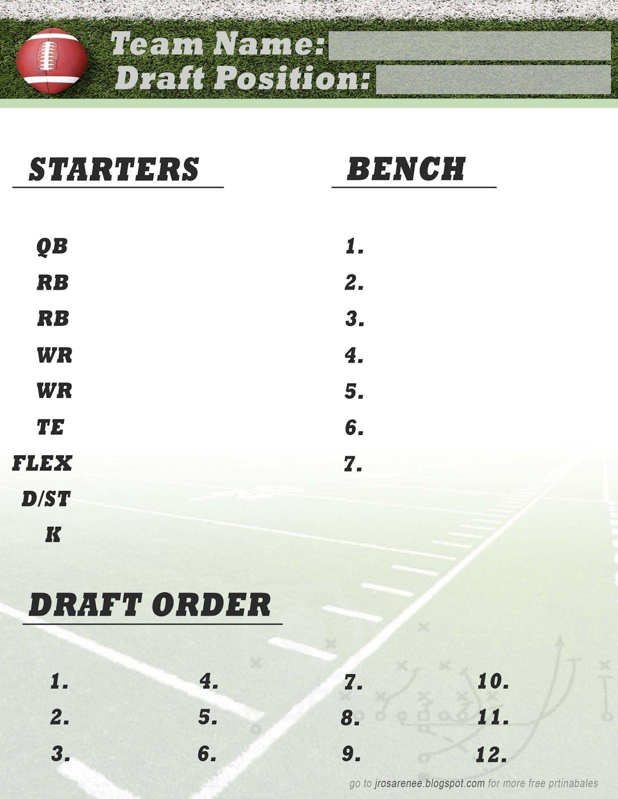 Freebie Friday, Fantasy Football Roster #free #printable | Great - Free Fantasy Cheat Sheet Printable