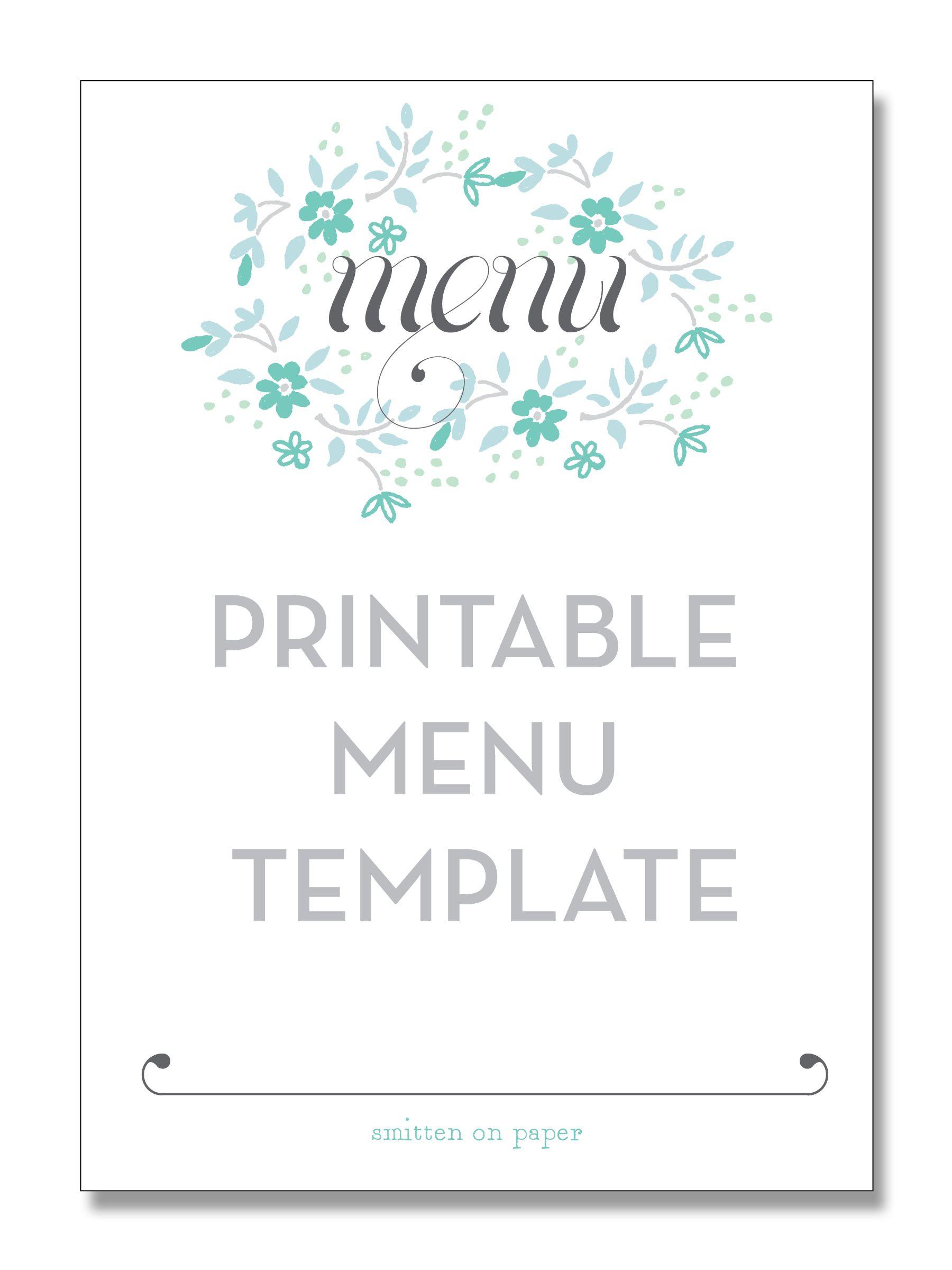 Freebie Friday: Printable Menu | Party Time! | Pinterest | Free - Free Printable Christmas Dinner Menu Template