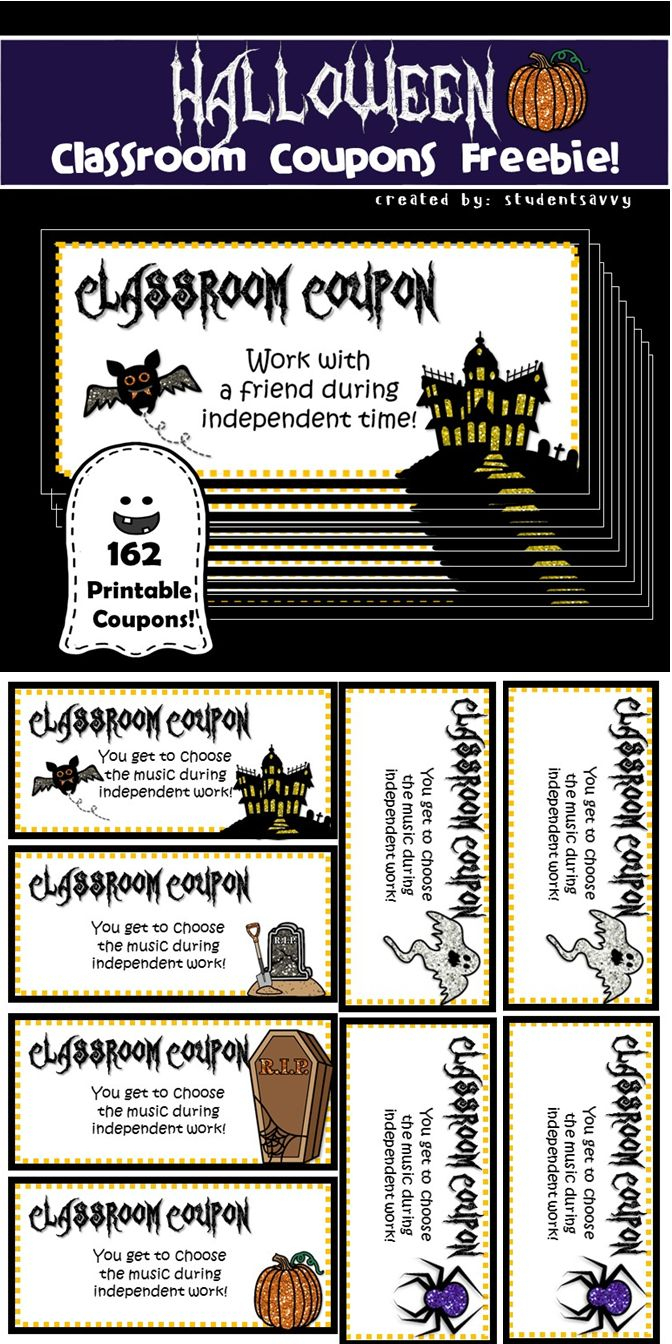 Freebie!! Spooky Style 162 Printable Classroom Coupons! 25 Different - Free Printable Halloween Homework Pass