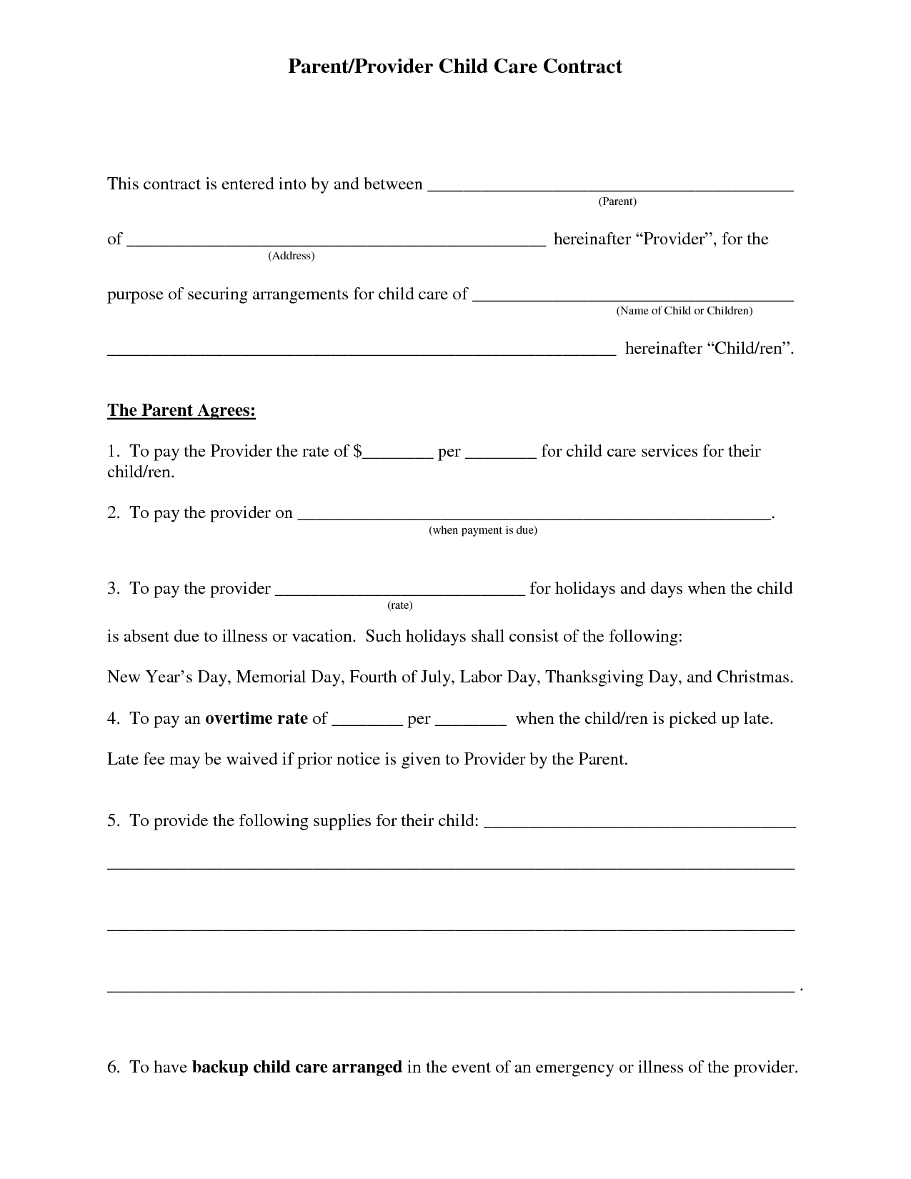 Free+Daycare+Contract+Forms | Printable Daycare Forms | Pinterest - Free Printable Daycare Forms