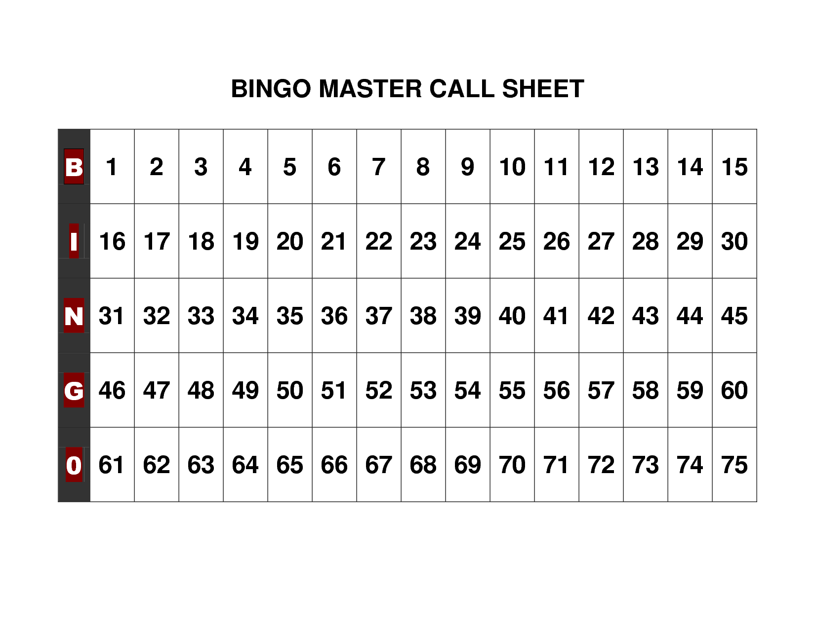 Free+Printable+Bingo+Call+Sheet | Bingo | Pinterest | Bingo Calls - Free Printable Bingo Cards 1 75