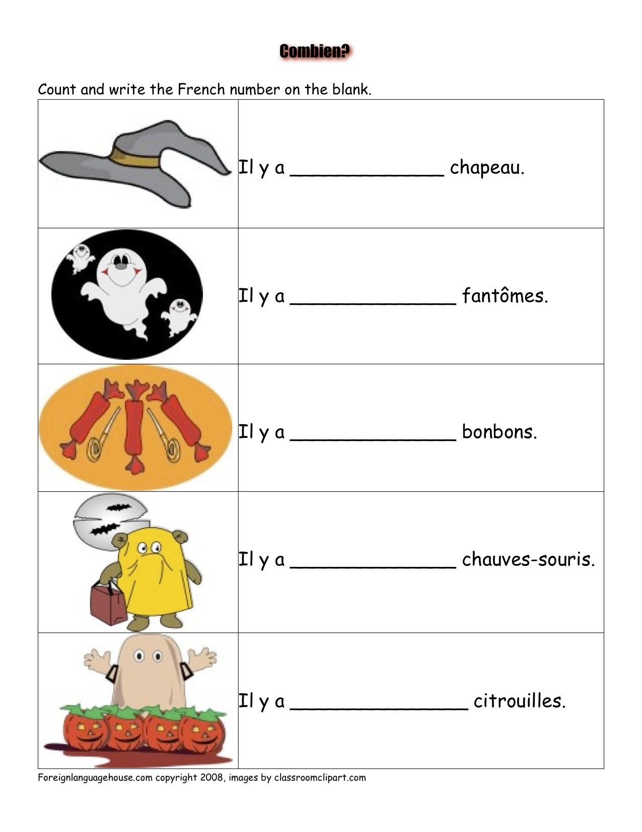 French Worksheets - Halloween   French Activities   French - Free Printable French Halloween Worksheets