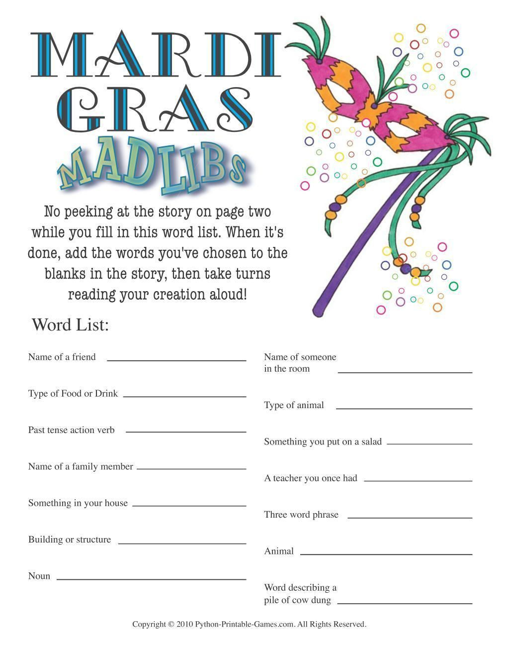 Frequently Asked Questions Contact - About Us All Our Games Blog - Free Printable Mardi Gras Games