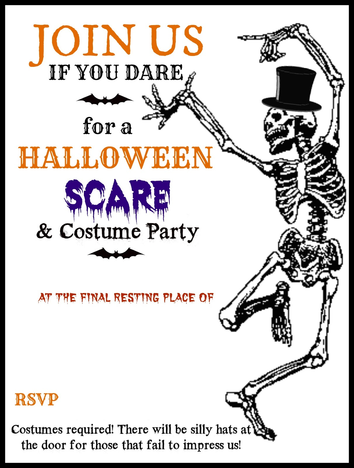 Fresh Halloween Party Invitation Templates Free For Your Invitations - Halloween Invitations Free Printable Black And White