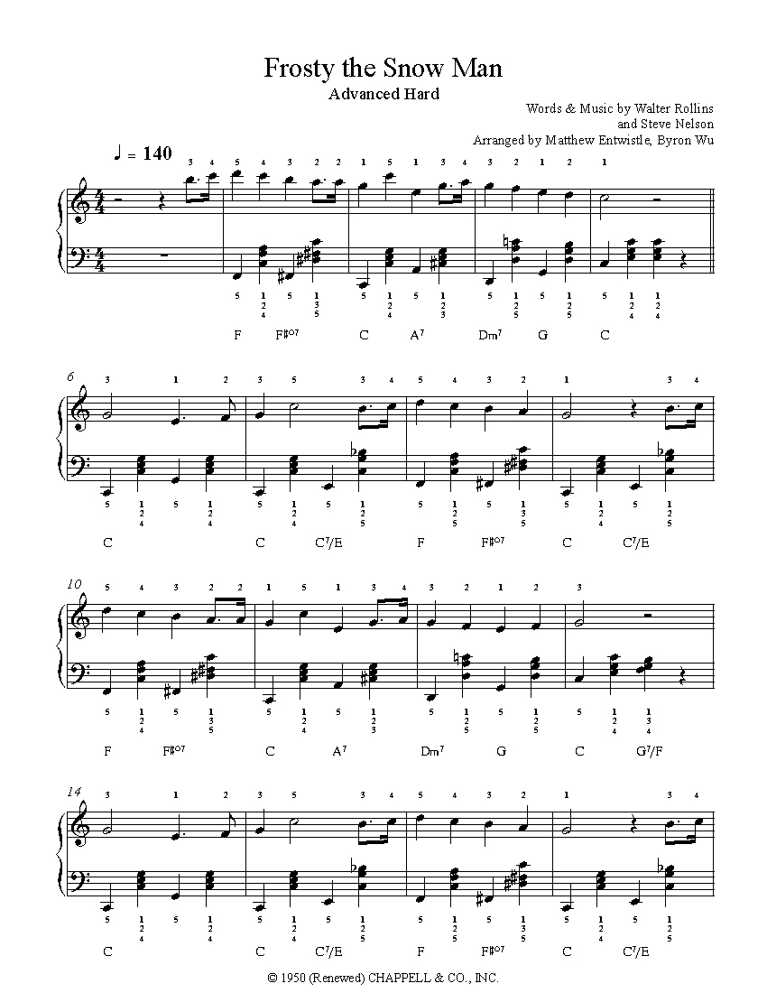Frosty The Snow Mansteve Nelson Piano Sheet Music | Advanced Level - Free Printable Frosty The Snowman Sheet Music