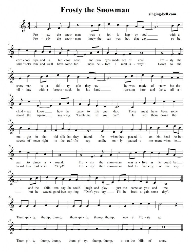 Frosty The Snowman | Free Xmas Music Scores/sheets | Pinterest - Free Printable Frosty The Snowman Sheet Music