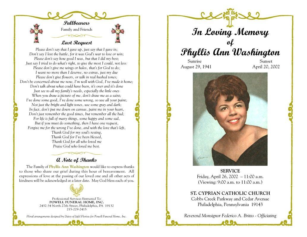 Funeral Program Template Sample Free Loving Memory Templates : Masir - Free Printable Funeral Programs