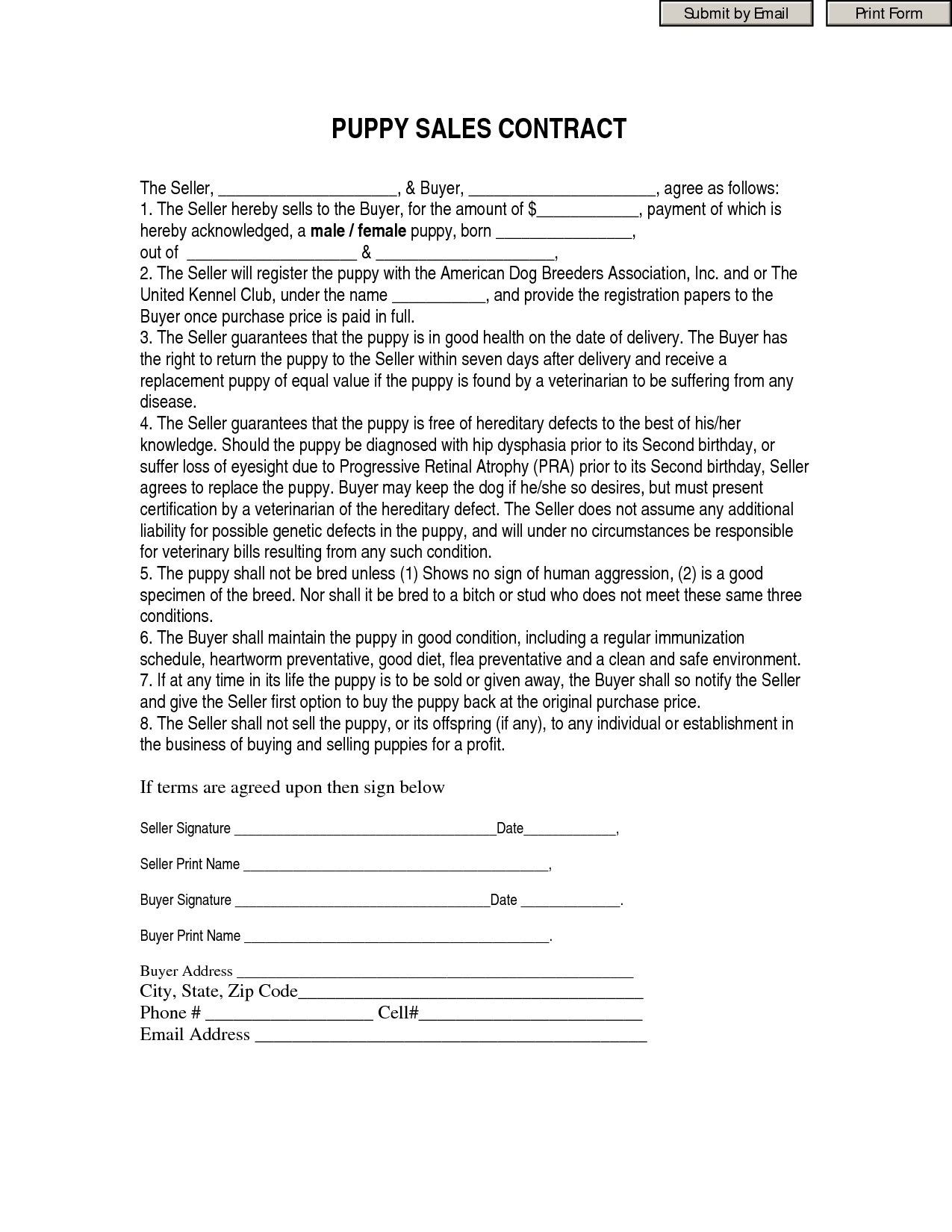 Gallery Of Sample Cover Letter For Real Estate Purchase Offer - Free Printable Puppy Sales Contract