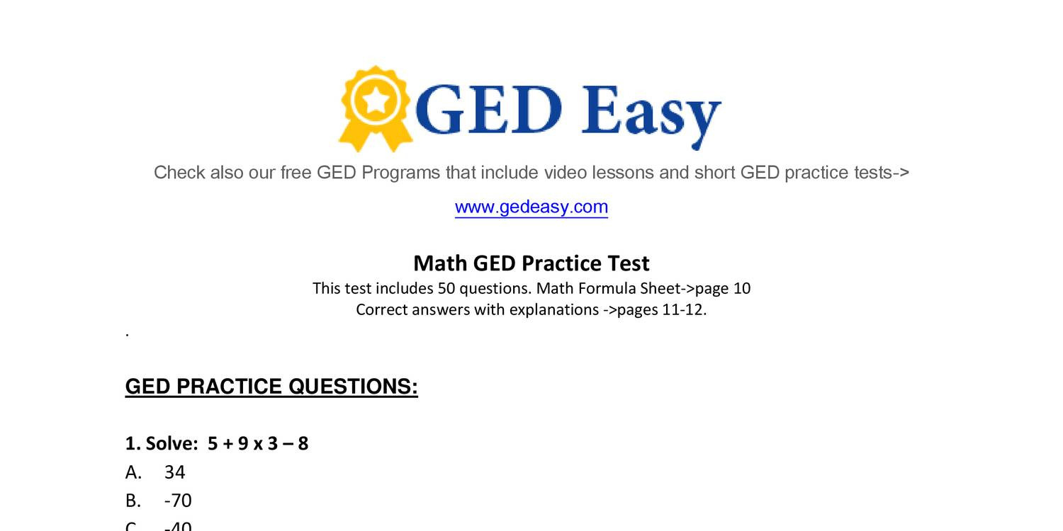 Ged Practice Test To Print Free User Manual | 2019 Ebook Library - Tabe Practice Test Free Printable