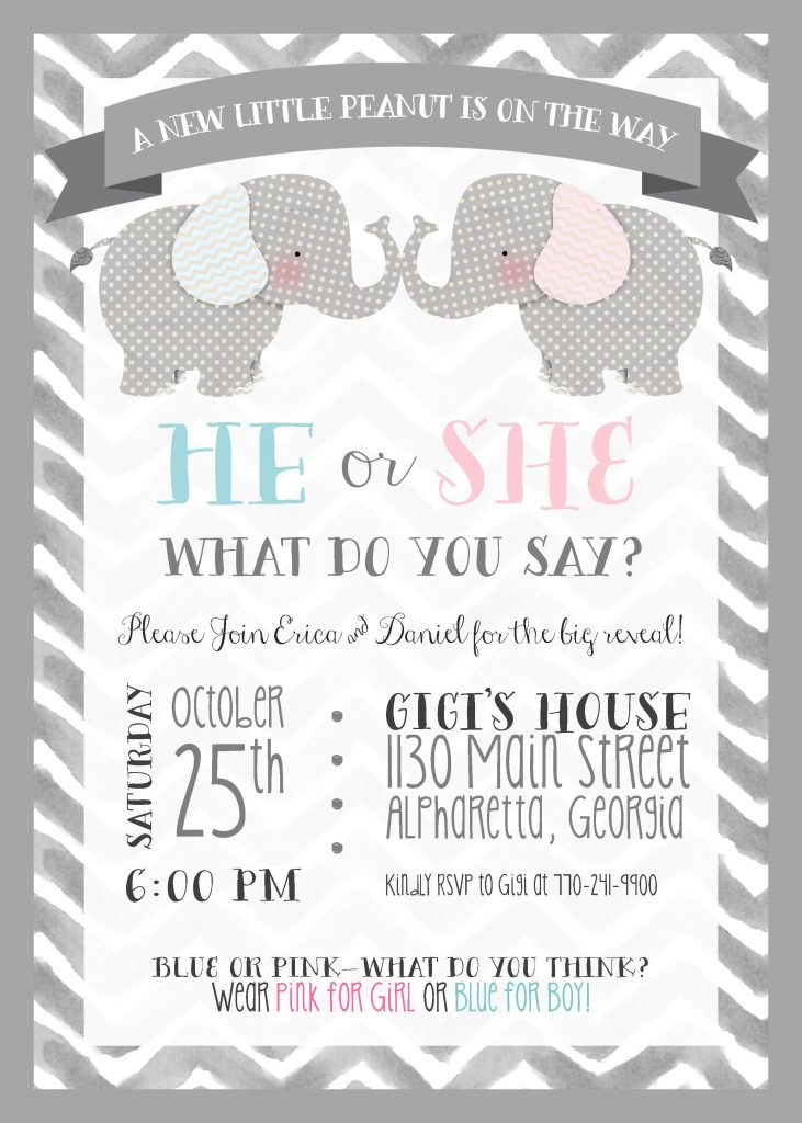 picture about Free Printable Gender Reveal Invitations referred to as Gender Clarify - Celebration Invitation - Elephant Concept - Very little