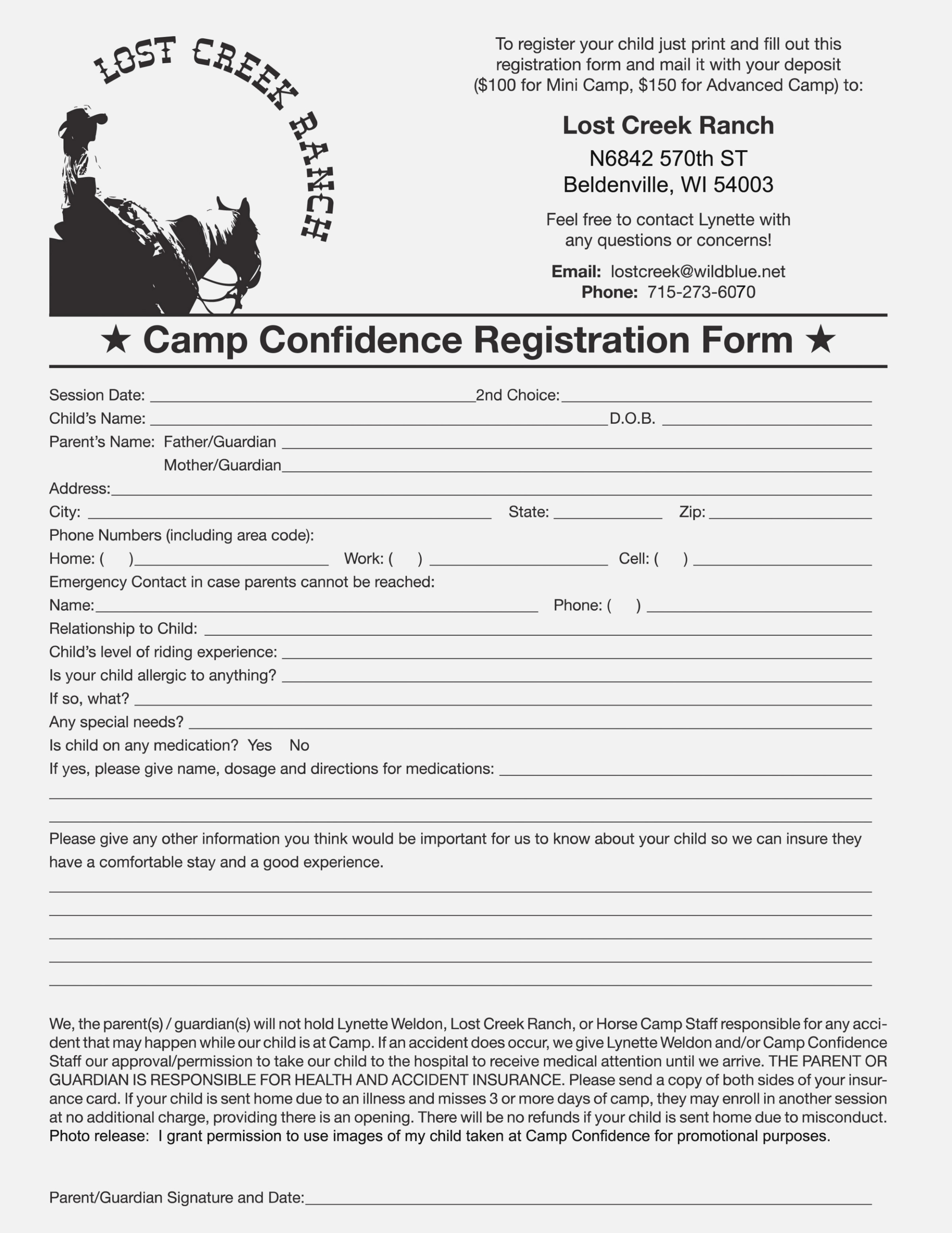 Get Form Summer Camp Registration Form – Inver Template Center - Free Printable Summer Camp Registration Forms