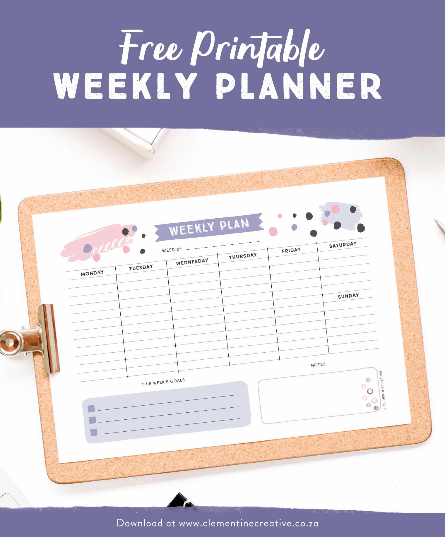 Get Organised With This Free Printable Weekly Planner - Cute - Planner Printable Free