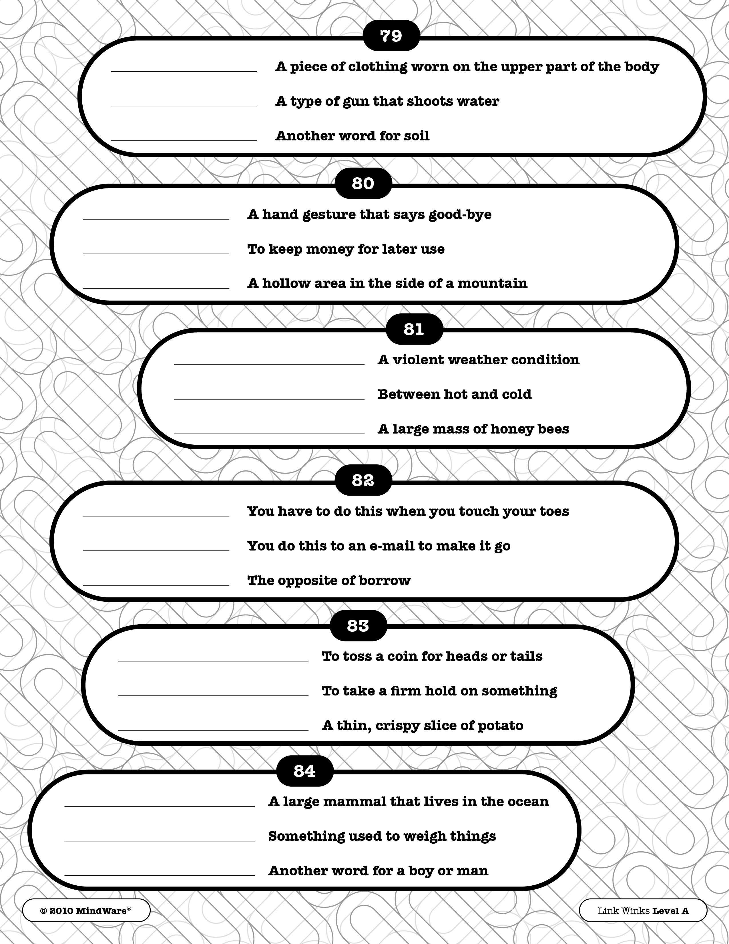 Get Your Brain Moving With A Page From Our Link Winks Level A Book - Free Printable Word Winks