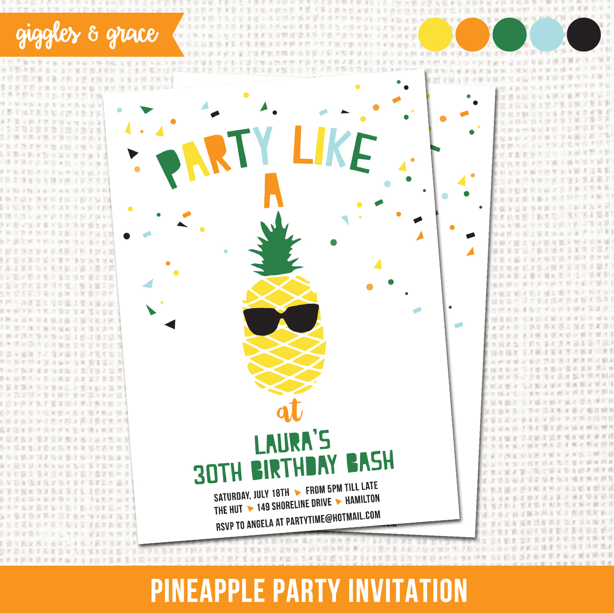 Giggles And Grace Designs - Lifes Little Celebration - Free Printable Pineapple Invitations